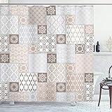 ABAKUHAUS arabisch Duschvorhang, Pastell Orientalisches Motiv, mit 12 Ringe Set Wasserdicht Stielvoll Modern Farbfest & Schimmel Resistent, 175x180 cm, Weiß Beige Grau