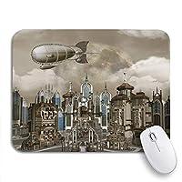 ROSECNY 可愛いマウスパッド 飛行船都市景観都市ファンタジーヴィンテージ古代建築建物雲滑り止めゴムバッキングコンピューターマウスパッドノートブックマウスマット