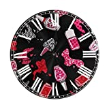 Kncsru Reloj de Pared Redondo Reloj de Pared silencioso sin tictac Esmalte de uñas Decorativo Cocina Interior Sala de Estar Oficina Reloj Redondo Moderno Número
