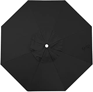 Shadeprotection Black Sunbrella Fabric Top Cover Replacement Umbrella Canopy for 9 ft 8 Ribs Patio Umbrella Sunbrella Fabric Canopy (Acrylic Sunbrella, Canvas Black)