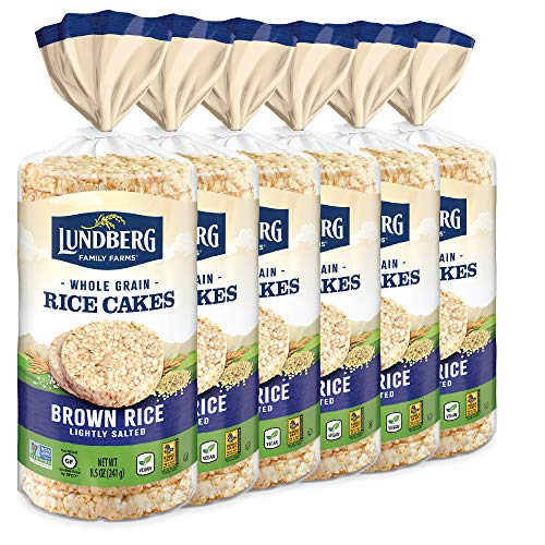 Lundberg Rice Cakes, Lightly Salted, 8.5oz (6 Count), Gluten-Free, Vegan, Non-GMO Verified, Kosher, Whole Grain Brown Rice, Eco-Farmed Lightly Salted, 51 Oz