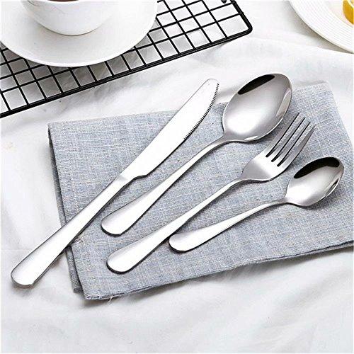 Frolahouse 24 piezas, cubiertos de plata para lavaplatos, uso en el hogar de acero inoxidable occidental vajilla Set cuchillo tenedor cuchara dersert cuchara, servicio para 6