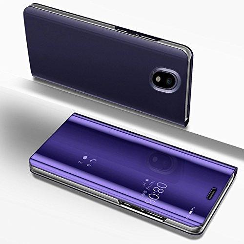 Etsue Coque Compatible avec Samsung Galaxy J5 2017 Clear View Miroir Flip Case Cover Portefeuille PU Cuir Miroir Complet Protecteur étui Support Coque à Rabat Magnétique Smart Case Coque Housse Etui