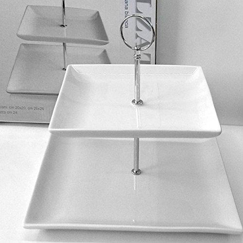 AD TREND Présentoir à 2 étages en porcelaine blanche, hauteur 24 cm, assiette 26 x 26 cm et 20 x 20 cm.