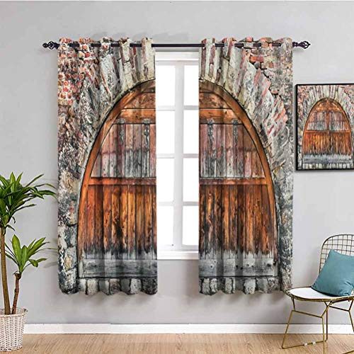 Rustic Insulating Room Darkening Blackout, Curtains 63 inch Length Photograph of A Brick Stone Rampart with Oval Gate with Dated Ancient Materials Art Reduce Light Grey Brown W63 x L63 Inch