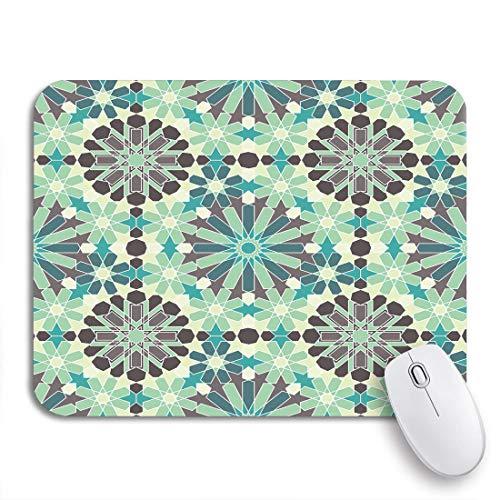 VICAFUCI Alfombrilla de rató Gaming,Azul Patrón Zellige Marroquí Razil Moro Celadón Abstracto Verde,Ordenador tamaño (24 cm x 20 cm) Mouse Pad,Base de Goma Antideslizante,Impermeable