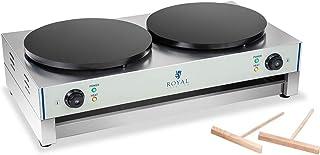 Royal Catering - RCEC-3000-R - Dubbel Crepes Maker - 3000 Watt - Rostfritt stål - Smatter-distributör ingår