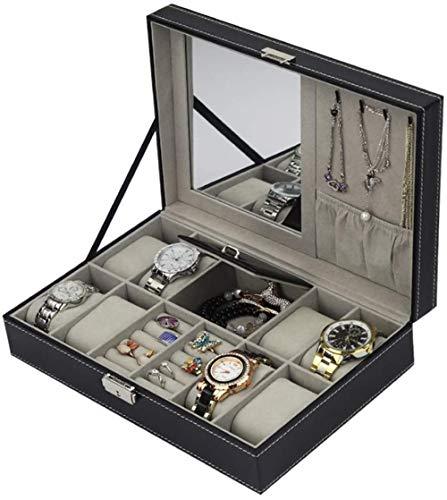 Caja de reloj caja de joyería y reloj caja de almacenamiento multifuncional con caja de gemelos, colección organizador de relojes