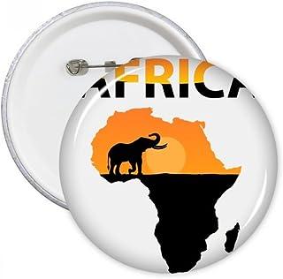 Carte de l'Afrique savane Elephant Wildlife broches rondes badge Button Vêtements Décoration Cadeau 5pcs M