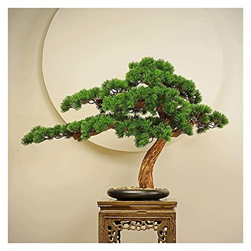 Piante artificiali Albero di pino bonsai artificiale, 21 pollici Pianta in vaso Faux in custodito, ornamenti di albero falso dell'albero Cedar Bonsai Plant per camera da letto, ristorante Alberi artif