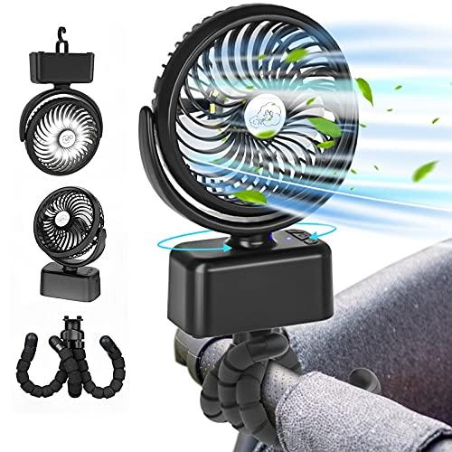 Stroller Fan, 5000mAh Camping Fan Rechargeable Portable USB Desk Fan, 120° Oscillating Stroller Fan with Flexible Tripod Clip On, 3 Wind Speeds&LED Light for Outdoor Home Bedroom Office