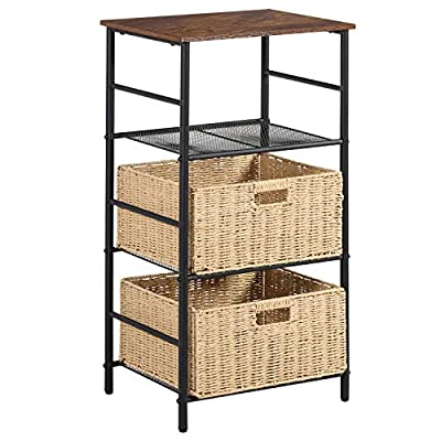 VECELO Industrial Side/End Table Nightstand with 2 Wicker Basket Storage, Printer Shelf Telephone Stand for Hallway Office Living Room, 3-Tier Tall Accent Furniture