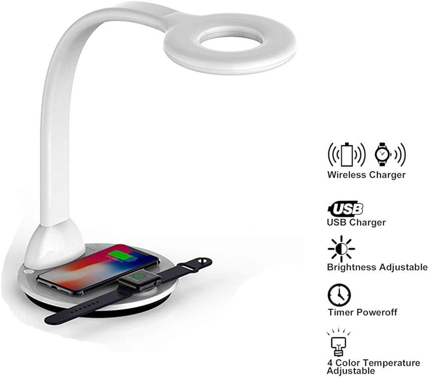 DTVX Tischlampe drahtlose Ladeleichte LED American Bedside Lampe, 10W Wireless LED Fast Charger, Blautooth 4.2 Touch-Sensor-Dimming, geeignet für iPhone Watch,Weiß