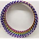 FlickBuyz Multicolor Deluxe Spiral Glittering Hula Hoops & Great Rainbow Colors for Summer Fun & Garden Games Weighted Hoop for Adults and Kids