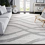 Safavieh Adirondack Collection ADR125C Modern Wave Distressed Non-Shedding Stain Resistant Living Room Bedroom Area Rug, 8' x 10', Cream / Grey