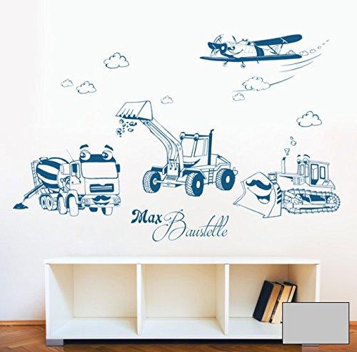 Graz Design M1733 Sticker mural Motif chantier de construction, pelleteuse, chenille et avion avec nom au choix Couleur sélectionnée : gris moyen, taille sélectionnée L 100 cm de large x 65 cm