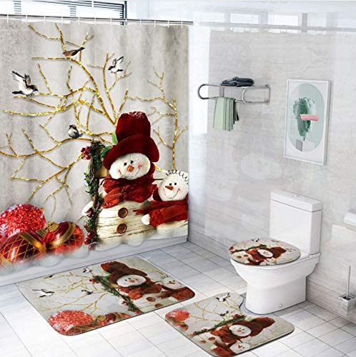 Pknoclan 4Pcs Merry Christmas Shower Curtain Set with Non-Slip Rug, Toilet Lid Cover and Bath Mat, Xmas Snowman Shower Curtains with 12 Hooks, Christmas Shower Curtain Sets for Bathroom