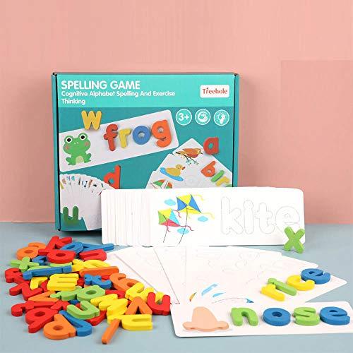 Oostifun Gobus Spelling Game Giocattoli Puzzle con Alfabeto in Legno con Carte di cognizione di Lettere e Parole