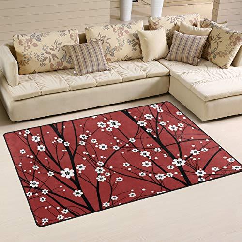 LZXO Teppich für Wohnzimmer, japanischer Kirschblütenbaum, strapazierfähiger Teppich, Schlafzimmerteppich, Fußmatte, 152 x 100 cm, Polyester, multi, 60x39in