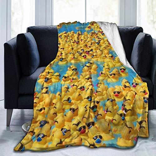 Manta suave y acogedora para adultos y hombres, con diseño de patos amarillos de goma con gafas de sol, manta súper cálida, tamaño king
