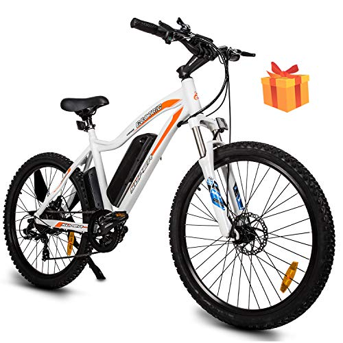 Mountain EBike Electric Bicycle Bike 26' Alloy Frame with 500W Powerful Motor 36V/13Ah Lithium Suspension Fork (White)(Gifts)