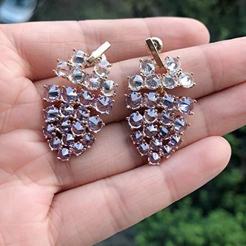 BAJIE Pendientes de cristal de uva pendientes de color morado, súper lujoso, para fiestas o regalos de mujer