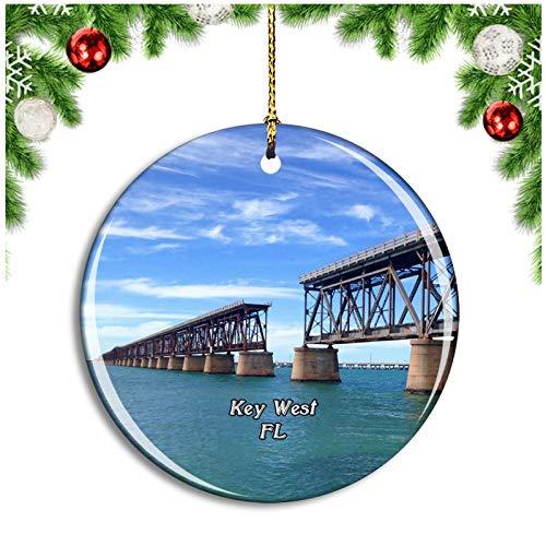 Key West Bridge Florida USA Christmas Ornament Xmas Tree Decoration Hanging Pendant Travel Souvenir Collection Double Sided Porcelain 2.85 Inch