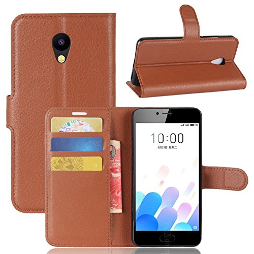 Tasche für MEIZU A5 / MEIZU M5C Hülle, Ycloud PU Kunstleder Ledertasche Flip Cover Wallet Case Handyhülle mit Stand Function Credit Card Slots Bookstyle Purse Design braun