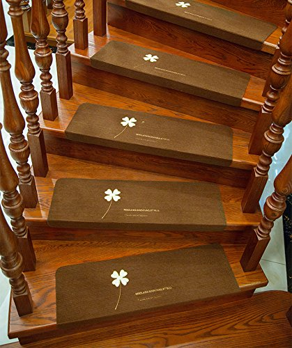 Stair Treads Carpet Non Slip,Self Adhesive Skid Indoor Outdoor Stair Mats for Wooden Steps, Washable Stair Rugs for Kids, Elders and Dogs, 8.7 X 21.7in, 5 Pieces (Brown)