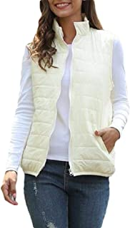 Macondoo Womens Coat Sleeveless Cotton-Padded Quilted Jacket Down Vest