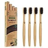 Lot de 4 Brosses à Dents en Bambou Biodégradable avec des Poils Doux Ergonomique et Vegan en Fibre de Charbon Végétal