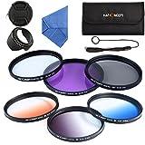 K&F Concept 67mm Kit de Filtres (UV/CPL/FLD/Bleu/Orange/Gris ND4) Filtre Protection UV Filtre Polarisant Filtre Gris Neutre...