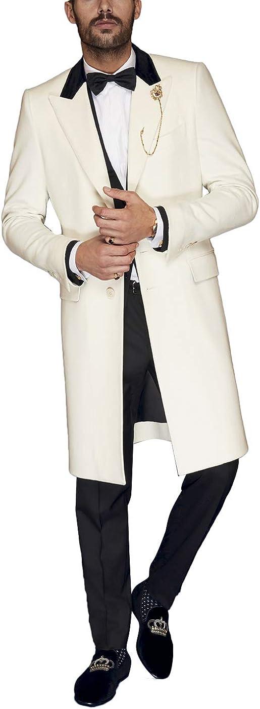 Newdeve Men's Suits Groom White and Black Long Tuxedo 3 Pieces Monrnig Suits Set