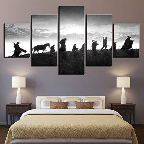 Hd Decoración para el hogar Pinturas modulares impresas 5 paneles El señor de los anillos Tableau Imágenes Cuadros Modernos Carteles modernos(NO Frame size)