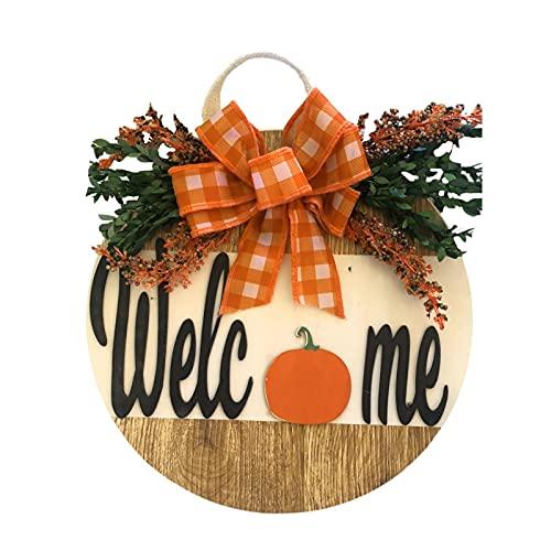Panneau de Bienvenue pour Porte d'entrée, couronnes de Bienvenue en Bois pour décoration de Ferme, Porche - Rustique - À Suspendre en extérieur - 30cm
