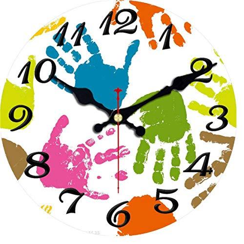 Reloj de pared de madera MINGKK Shabby Chic, reloj de pared vintage, reloj de pared, decoración del hogar, reloj de cocina grande de 30 cm