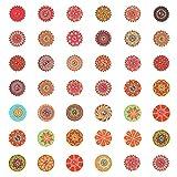 LAITER 200 pcs Botones de Madera para Manualidades Redondos y Engranajes cada 100pcs Pintados con Diseño de Flores de Colores Vintage con 2 Agujeros 2 cm para Costura Decoracion de Artesanía