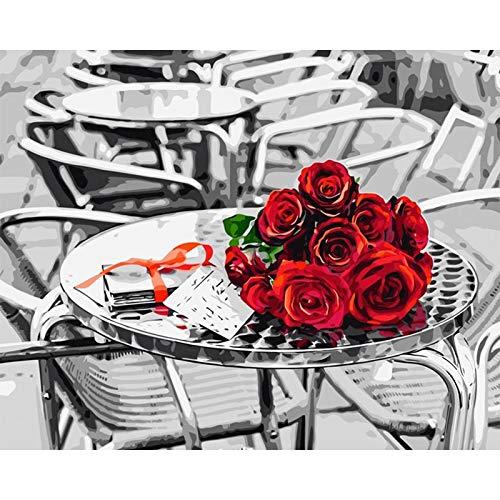 Pintura diy sin marco por números arte de pared lienzo flores cuadro pintura por número decoración del hogar A9 60x75cm