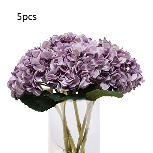 Tifuly 5PCS Artificial Hydrangea Silk Flower Single Stem Faux Hydrangea Flower Bouquets Arrangement for Party Wedding Centerpieces Home Decor(Purple)