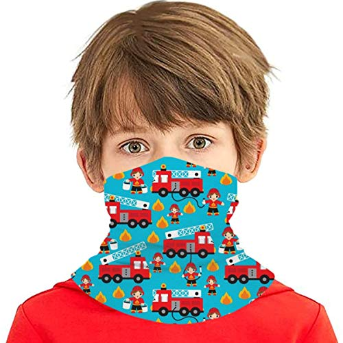 Fire Truck And Hero Boys Car Kids Face Mask Boys Girls Neck Gaiter Balaclava Windproof Scarf Breathable Mask for Outdoor Sports
