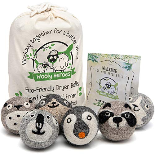Wooly Heroes Dryer Balls - 100% Organic Wool - Sustainable & Eco-Friendly - Dry 1,000 Loads