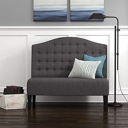 "Amazon Brand – Ravenna Home Rai Tufted Arched Armless Loveseat Bench Settee, 52""W, Dark Grey"