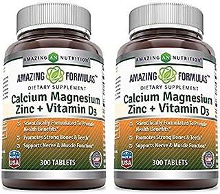 Amazing Nutrition Calcium Magnesium Zinc + Vitamin D3 300 Tablets - 2 Pack