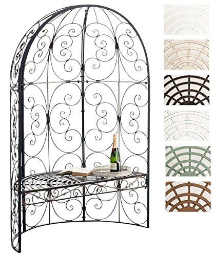 CLP Padiglione Giardino con Panca Rosie I Gazebo Padiglione in Ferro I Pergola A Semiluna Portata Max 200 kg, Colore:Bronzo
