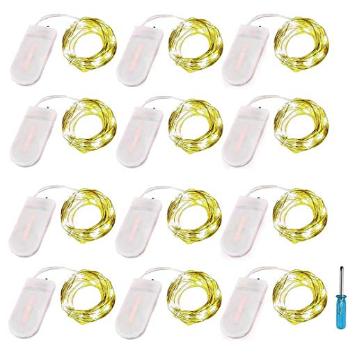 LRCXL Pack of 12 LED Battery Operated Lights 20 Micro Starry LEDs on Silver Wire,Batteries Included,6.5 Ft (2m) for Graduation Party Favors DIY Wedding Centerpiece or Table Decorations (Yellow)