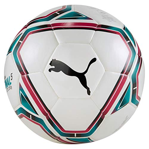 Puma teamFINAL 21 Lite Ball 350g, Pallone da Calcio Unisex-Adult, White-Rose Red-Ocean Depths Black, 4