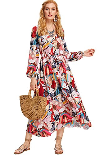 Milumia Women's Button up Split Floral Print Flowy Party Maxi Dress Medium Multicolor