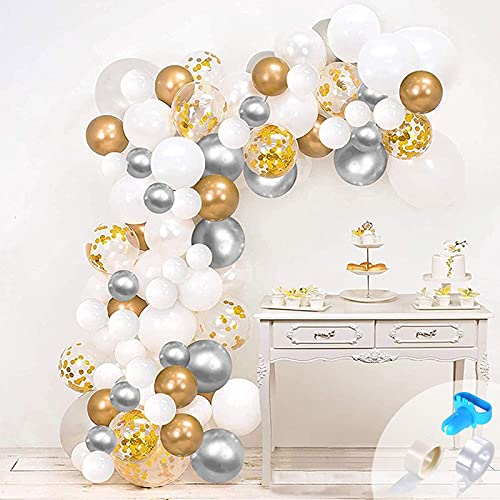 onehous White Gold Silver Balloon Garland Kit, 123pcs Metallic Gold Silver Balloon Arch Kit with White Latex Balloon Gold Confetti Balloon for Girls Birthday Wedding Baby Shower Party Decorations