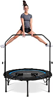 Goplus 40'' Folding Fitness Trampoline, Portable Mini Exercise Rebounder with 43''-51 Height Adjustable Safety Handrail, Indoor Outdoor Jumping Yoga Trampoline for Adults Kids