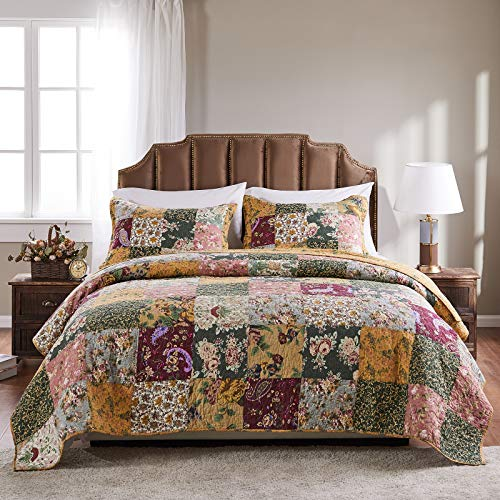 Greenland Home Antique Chic 100% Cotton Authentic Patchwork Quilt Set, Twin/Twin XL, Multicolor